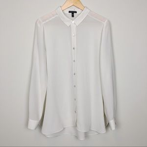 Eileen Fisher   100% Silk Ivory Button Up Blouse